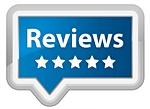 Badges with word Reviews and 5 stars under it